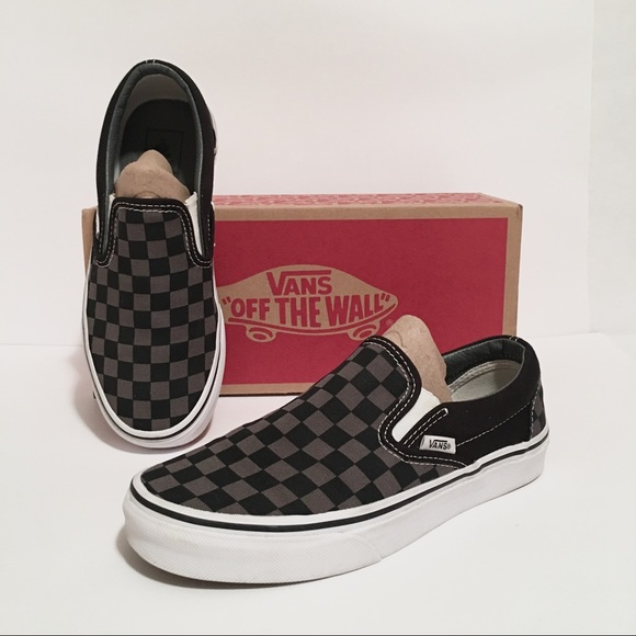Grey Checkerboard Slipon Vans Womens